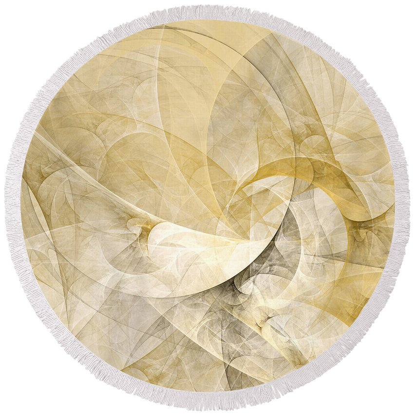 Abstract Round Beach Towel featuring the digital art Series Abstract Art In Earth Tones 1 by Gabiw Art