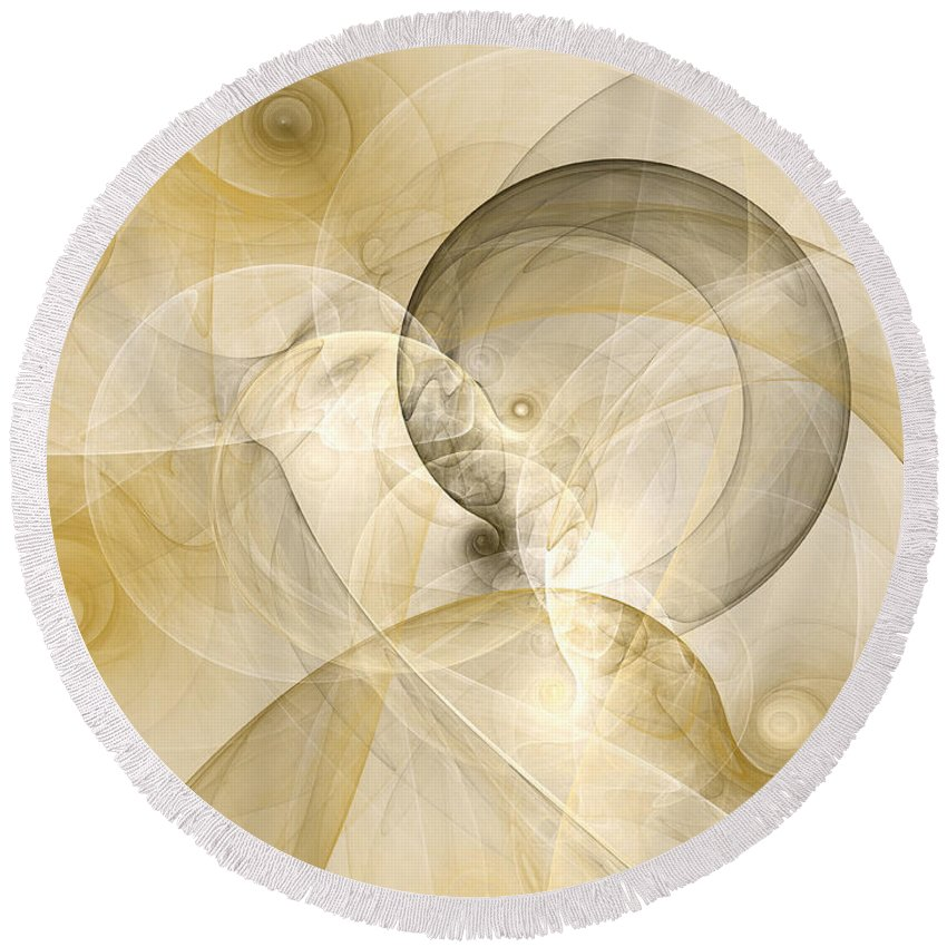 Abstract Round Beach Towel featuring the digital art Series Abstract Art In Earth Tones 3 by Gabiw Art