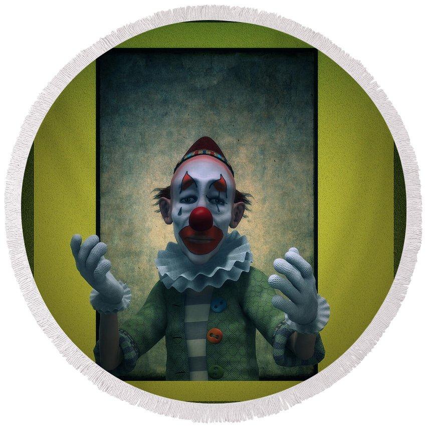 Clown Round Beach Towel featuring the digital art Serious Discourse by Ramon Martinez