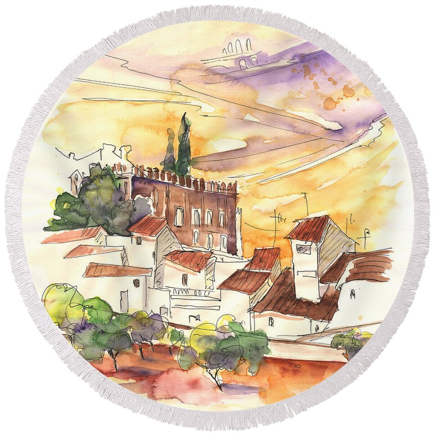 Water Colour Round Beach Towel featuring the painting Serpa Portugal 27 by Miki De Goodaboom