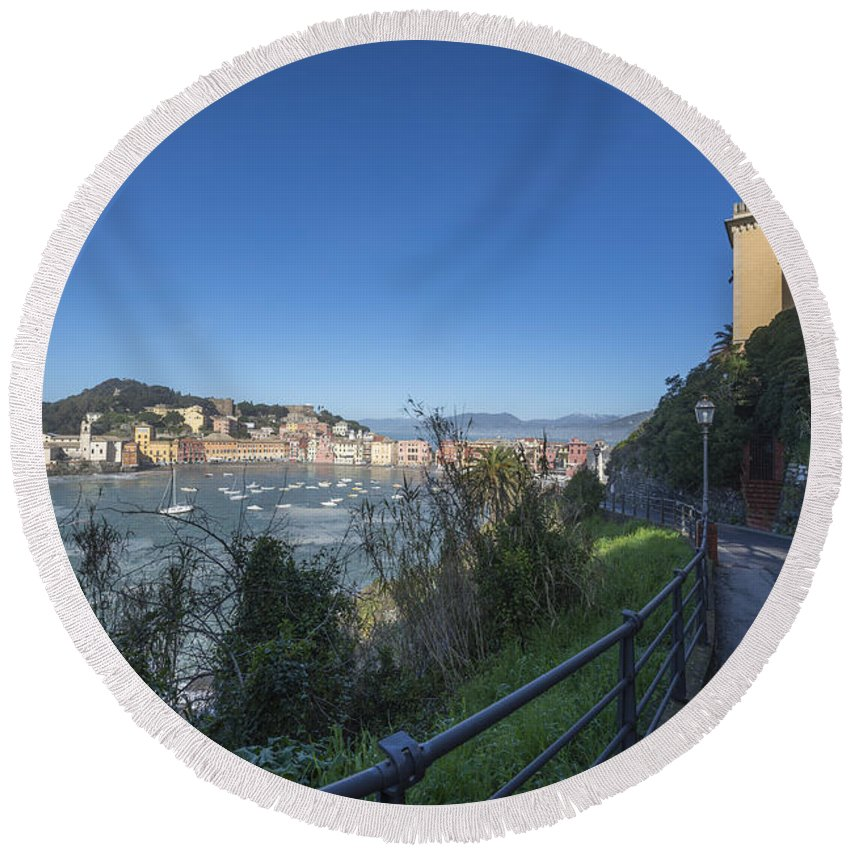 Village Round Beach Towel featuring the photograph Sestri Levante And A Street by Mats Silvan