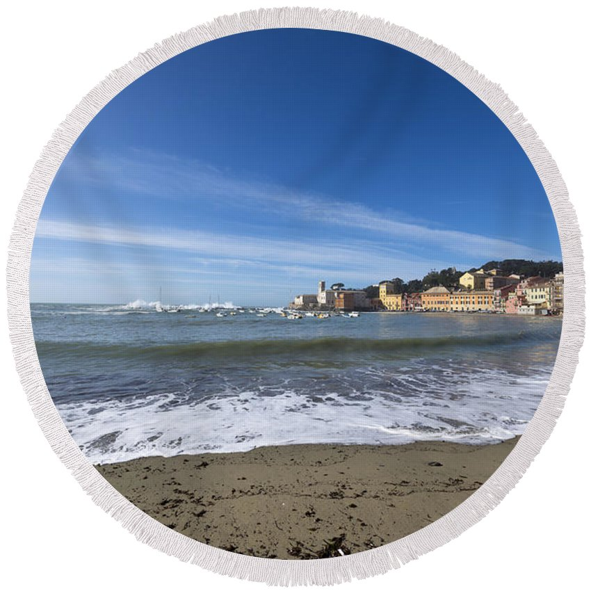 Village Round Beach Towel featuring the photograph Sestri Levante And Beach by Mats Silvan