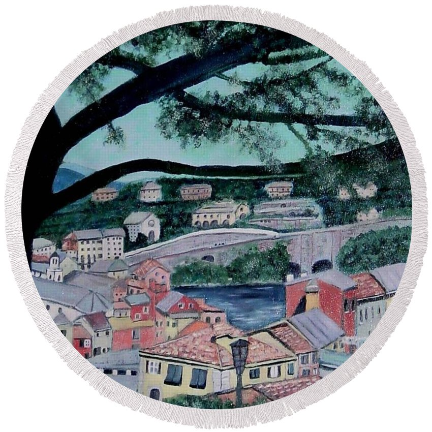 Italy Round Beach Towel featuring the painting Sestri Levante by Laurie Morgan
