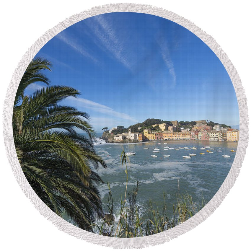 Village Round Beach Towel featuring the photograph Sestri Levante With Palm Tree by Mats Silvan