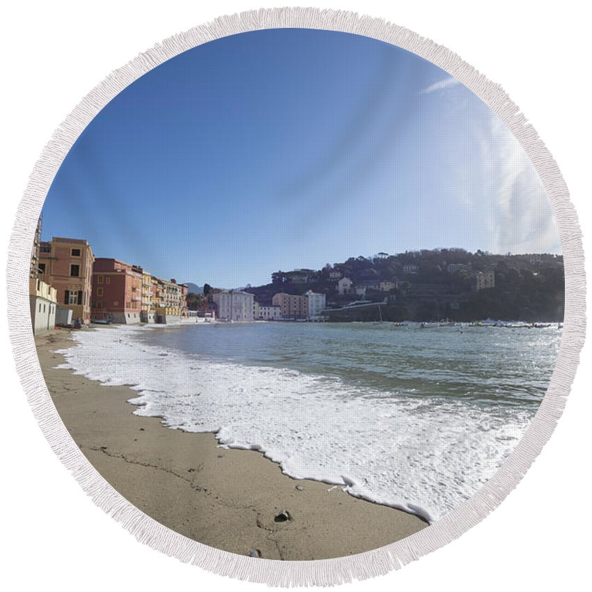 Village Round Beach Towel featuring the photograph Sestri Levante With The Beach by Mats Silvan