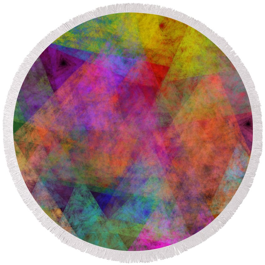 Andee Design Abstract Round Beach Towel featuring the digital art Set Sails On The Open Sea Abstract by Andee Design