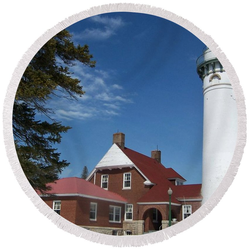 Lighthouse Round Beach Towel featuring the photograph Seul Choix Lighthouse by Teresa McGill