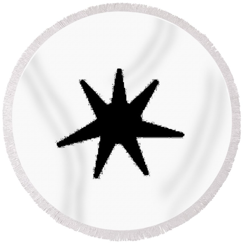 Seven Round Beach Towel featuring the digital art Seven Pointed Star by Frederick Holiday