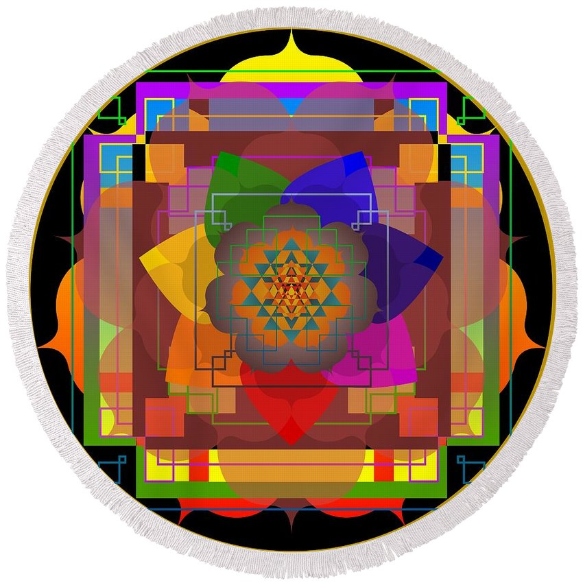 Digital Round Beach Towel featuring the digital art Seven Rays Of Healing 2013 by Kathryn Strick