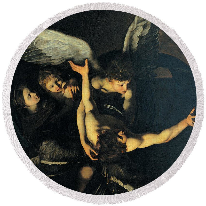 Caravaggio Round Beach Towel featuring the painting Seven Works Of Mercy by Caravaggio