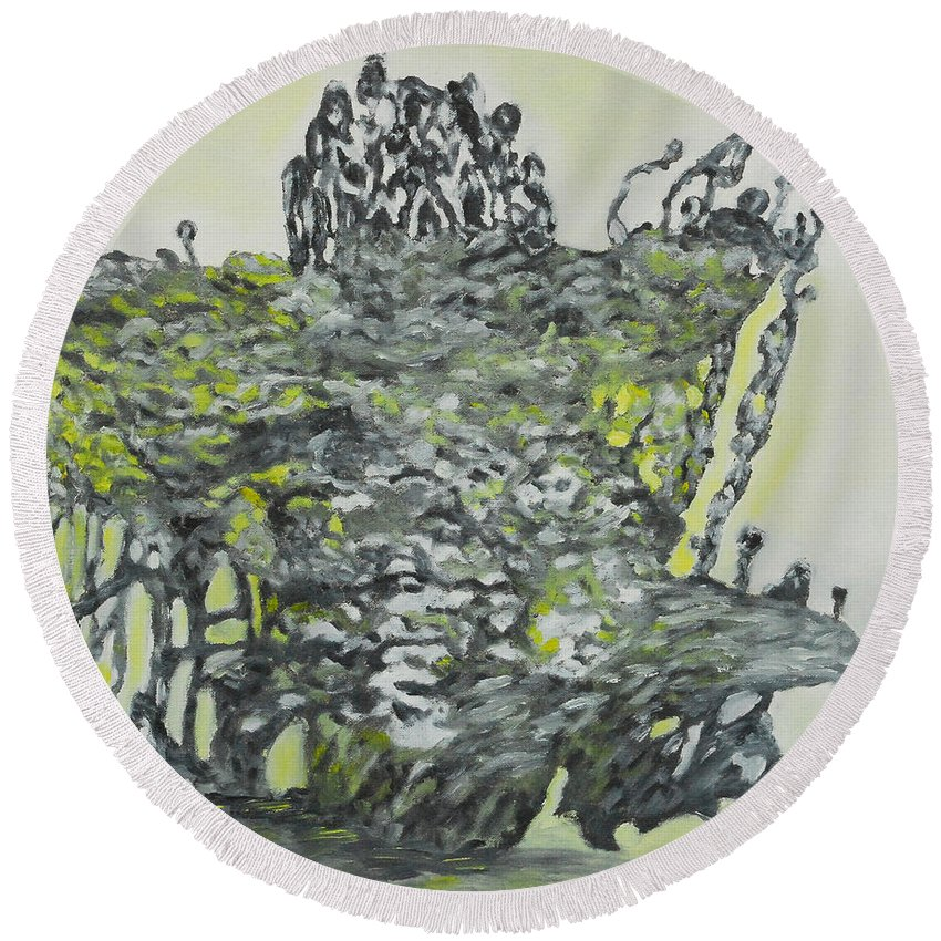 Augusta Stylianou Round Beach Towel featuring the painting Seventh Creation by Augusta Stylianou