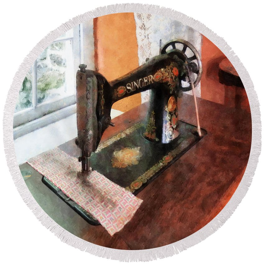 Sewing Machine Round Beach Towel featuring the photograph Sewing Machine Near Lace Curtain by Susan Savad