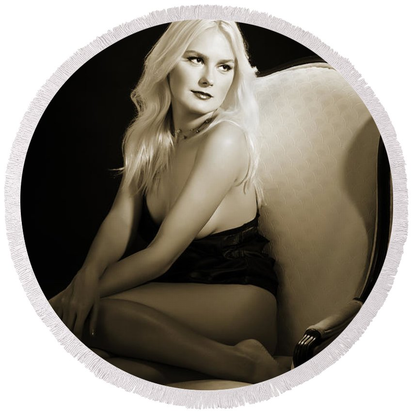 Adult Round Beach Towel featuring the photograph Sexy Fine Art Blond Girl In Chair 1285.01 by Kendree Miller