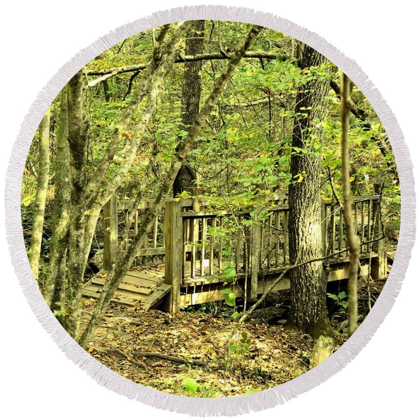 Shades Mountain Bridge In The Forest Round Beach Towel featuring the photograph Shades Mountain Bridge In The Forest by Maria Urso