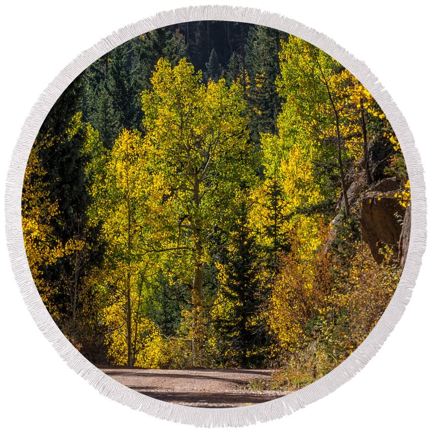 Autumn Round Beach Towel featuring the photograph Shades Of Fall by Ernie Echols