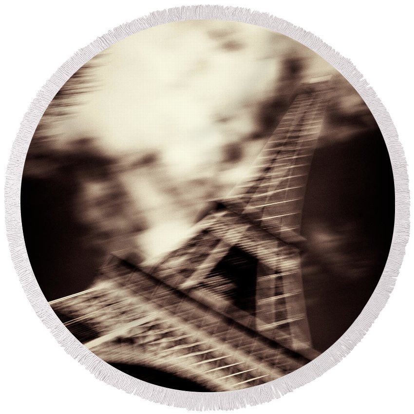 Eiffel Tower Round Beach Towel featuring the photograph Shades Of Paris by Dave Bowman