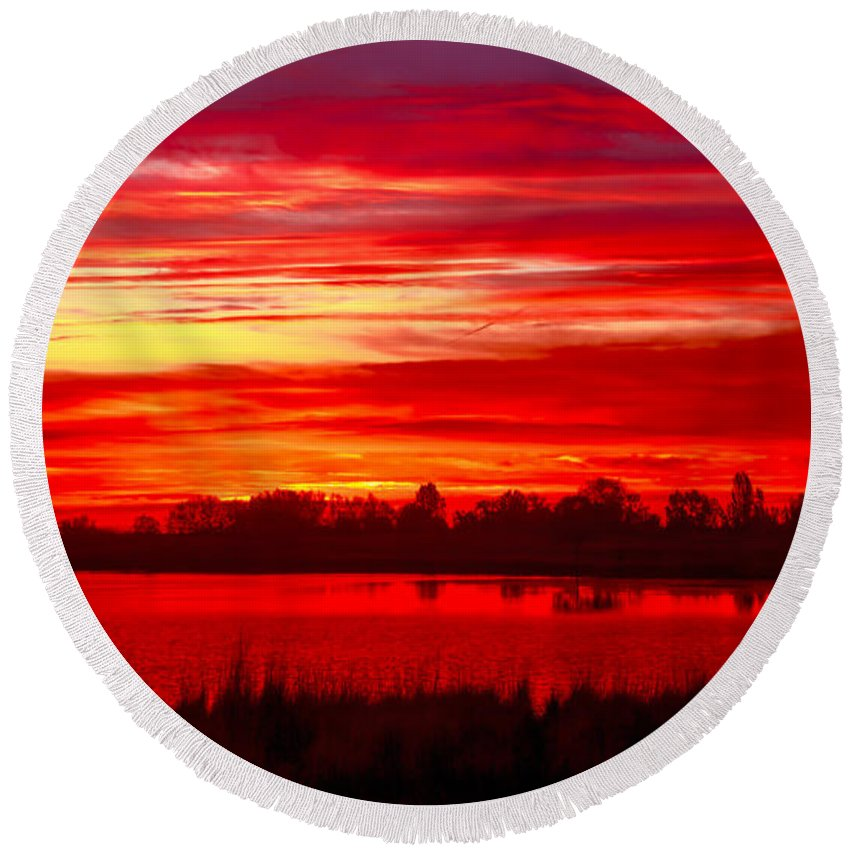 Sunset Round Beach Towel featuring the photograph Shades Of Red by Robert Bales