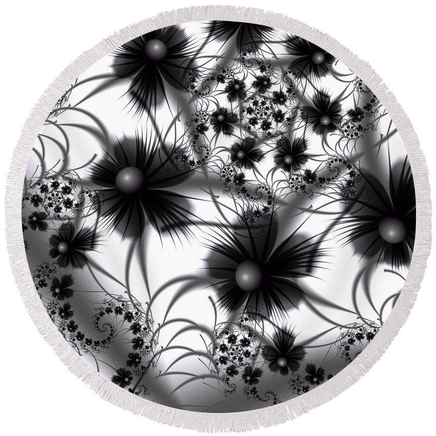 Flowers Round Beach Towel featuring the digital art Shadow Flowers by Kiki Art