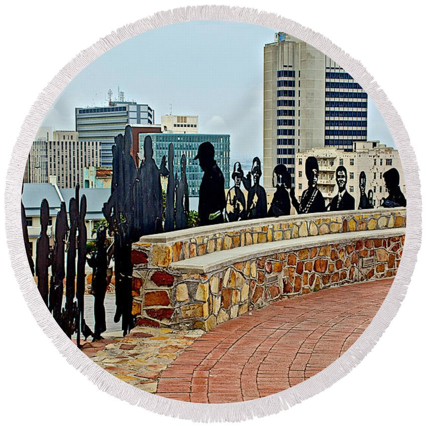 Shadow Representations Of People Coming To The Port In Donkin Reserve In Port Elizabeth Round Beach Towel featuring the photograph Shadow Representations Of People Coming To The Port In Donkin Reserve In Port Elizabeth-south Africa  by Ruth Hager