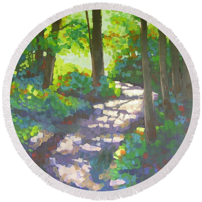 Landscape Round Beach Towel featuring the painting Shadowed Path by Mary McInnis