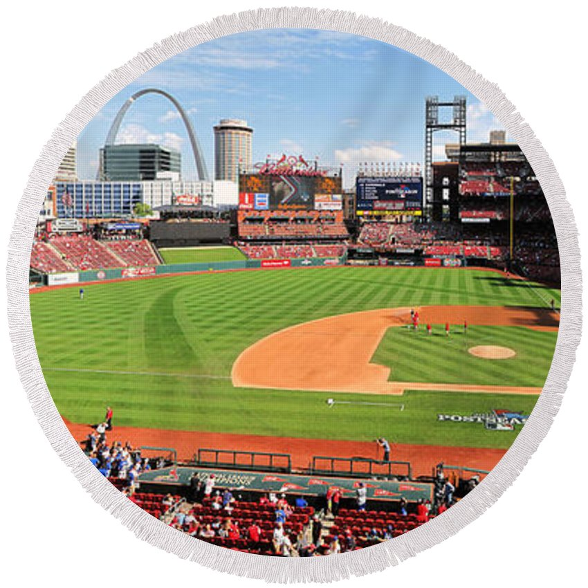 Busch Round Beach Towel featuring the photograph Shadows At Busch by C H Apperson