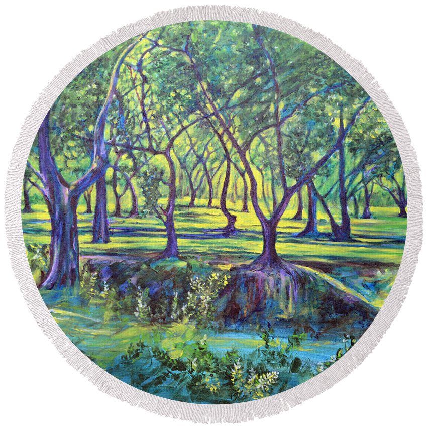 Landscape Round Beach Towel featuring the painting Shadows At Noon - Indian Landscapes by Usha Shantharam