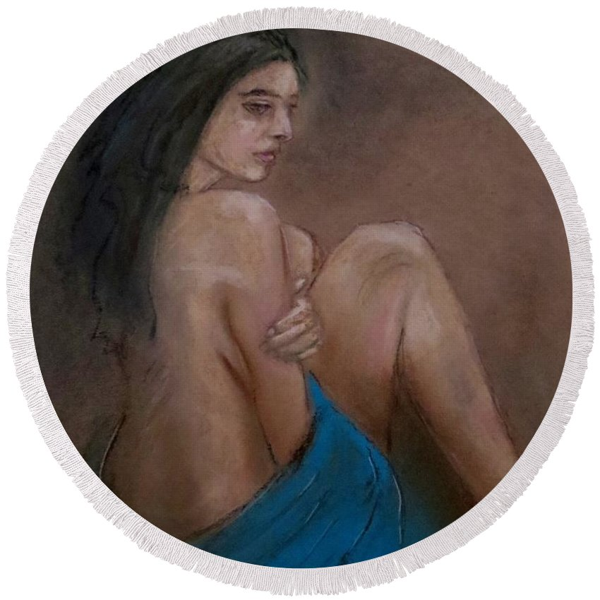 Female Figure Round Beach Towel featuring the painting Shadows by C Pichura
