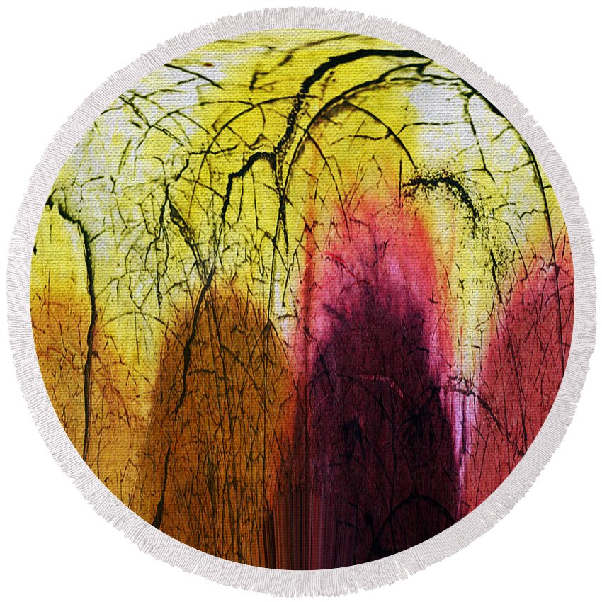Abstract Round Beach Towel featuring the digital art Shadows In The Grove by Absinthe Art By Michelle LeAnn Scott