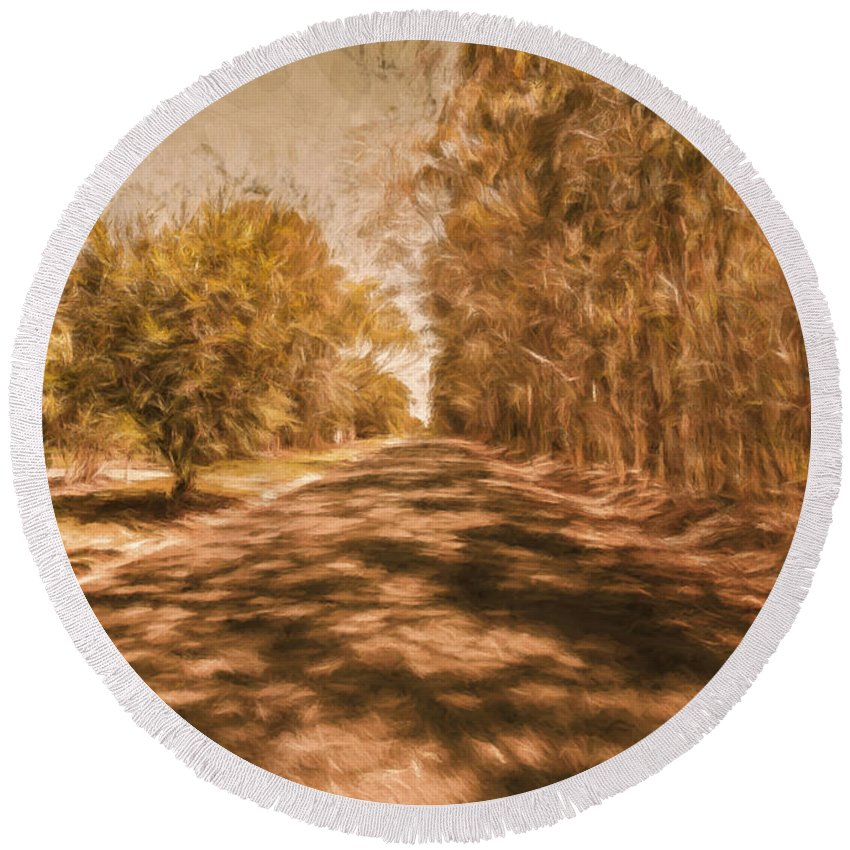 Vintage Round Beach Towel featuring the photograph Shadows On Autumn Lane by Jorgo Photography - Wall Art Gallery