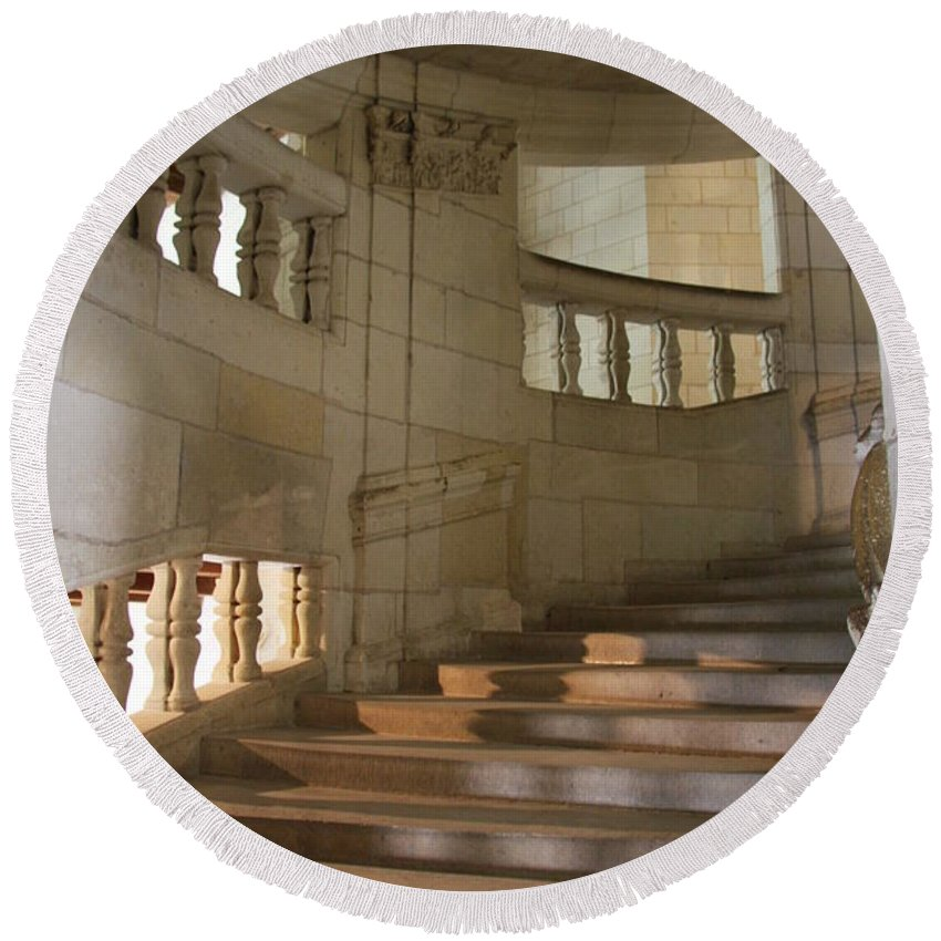 Staircase Round Beach Towel featuring the photograph Shadows On Chateau Chambord Stairs by Christiane Schulze Art And Photography