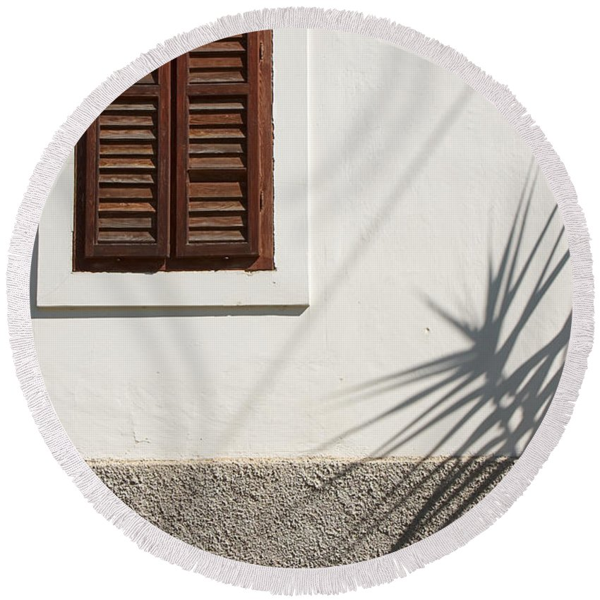 Architectural Feature Round Beach Towel featuring the photograph Shadows On Old House. by Jan Brons