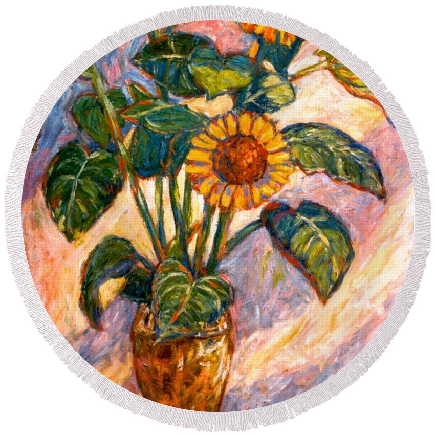 Floral Round Beach Towel featuring the painting Shadows On Sunflowers by Kendall Kessler