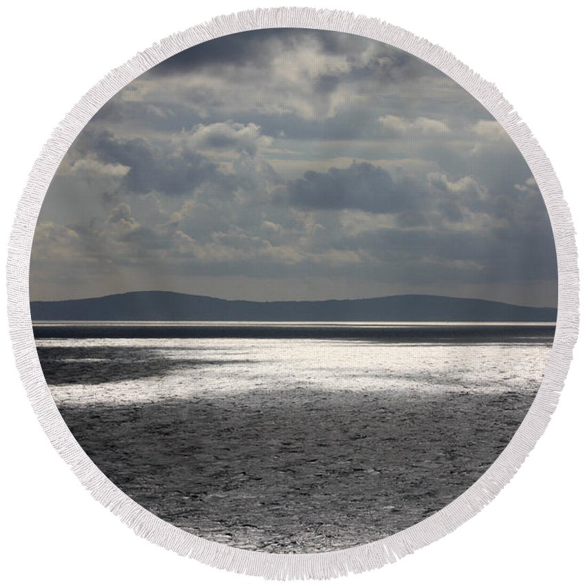 Adriatic Sea Round Beach Towel featuring the photograph Shadows Over The Sea by Anthony Doudt