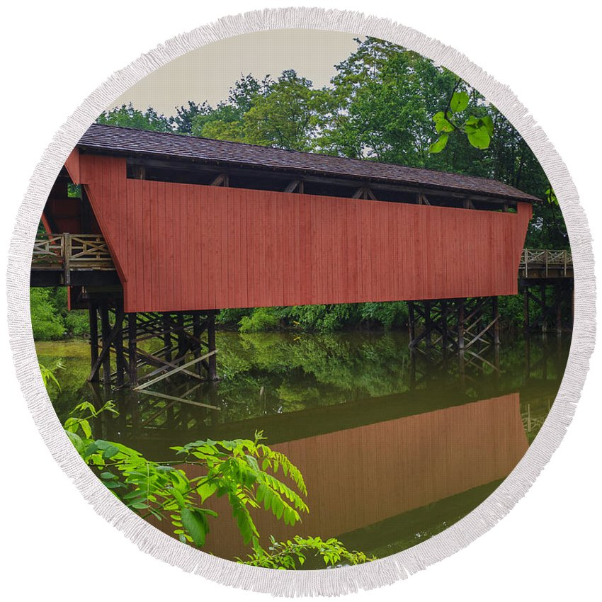 Ohio Round Beach Towel featuring the photograph Shaeffer Or Campbell Covered Bridge by Jack R Perry