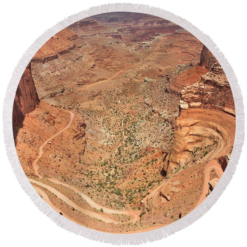 3scape Round Beach Towel featuring the photograph Shafer Trail by Adam Romanowicz