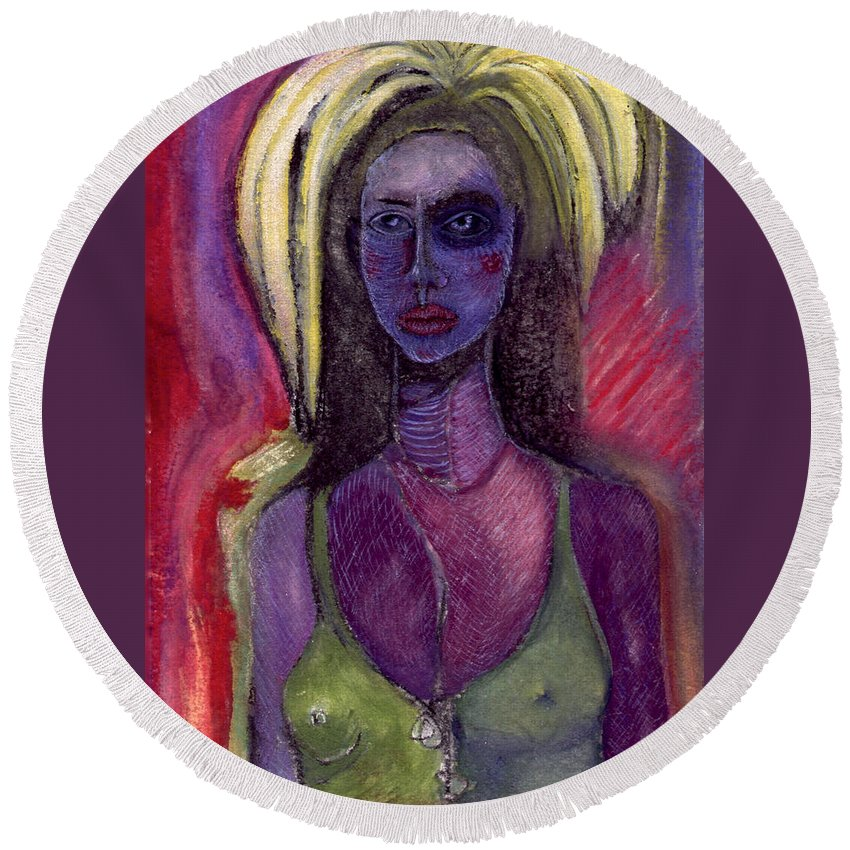 Woman Round Beach Towel featuring the painting Shaman Woman by Nova Cynthia Barker