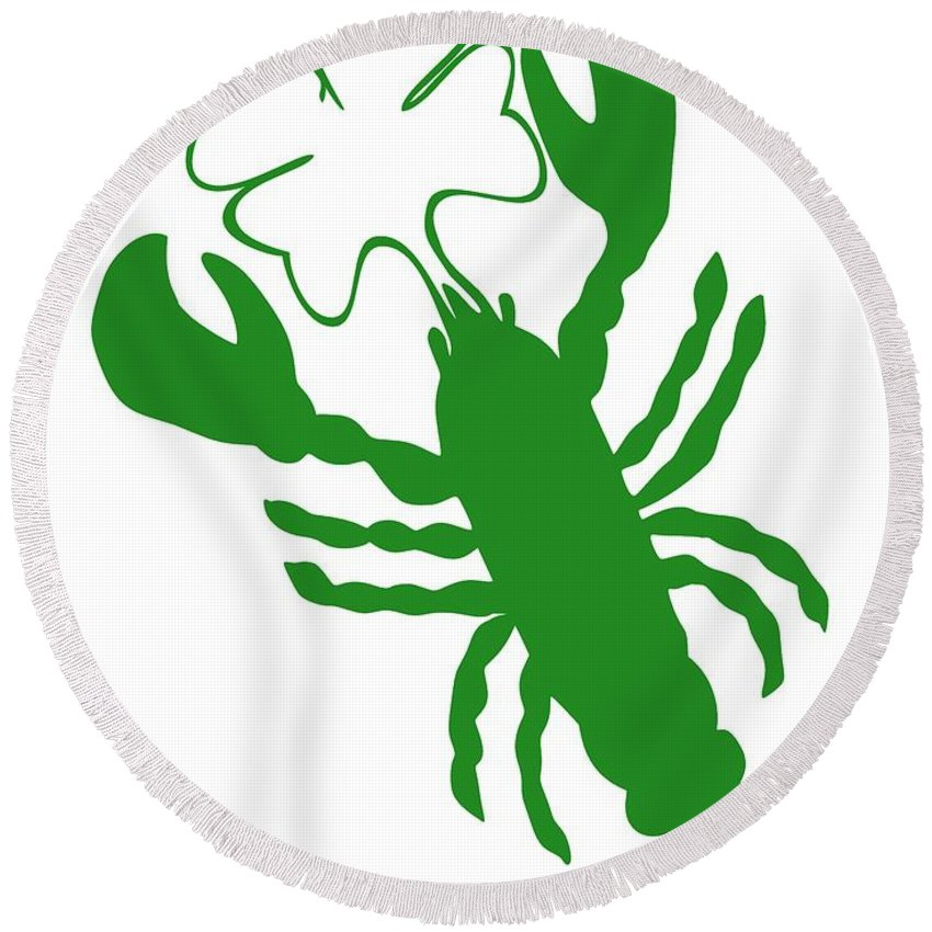 Lobster Luck Round Beach Towel featuring the digital art Shamrock Lobster With Feelers 458 20120114 by Julie Knapp