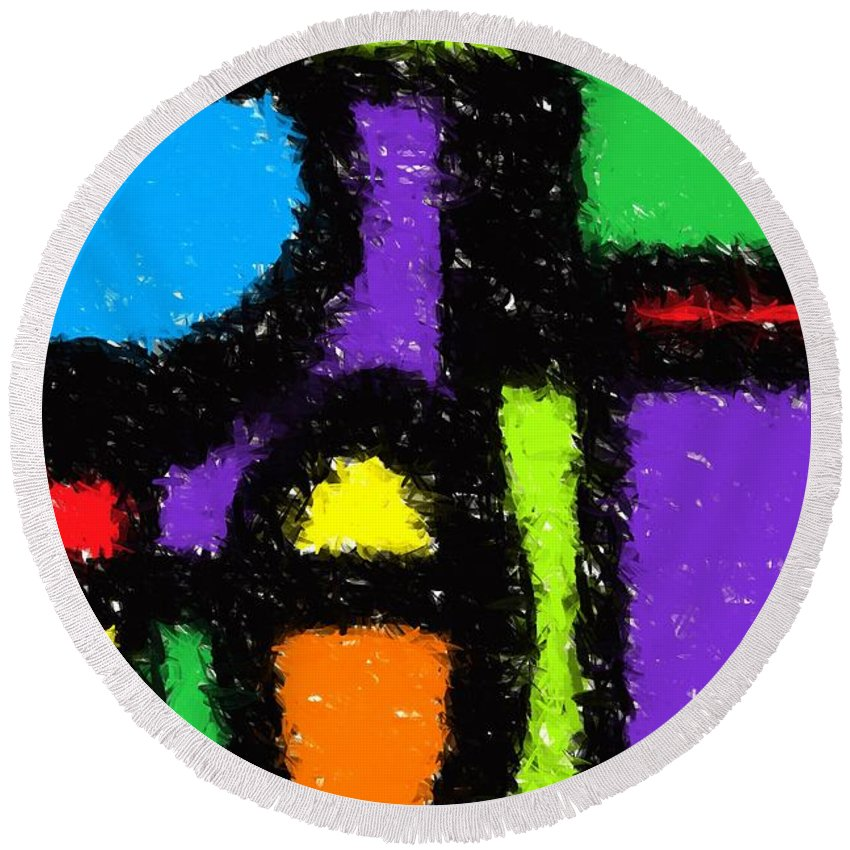 Abstract Round Beach Towel featuring the digital art Shapes 12 by Chris Butler