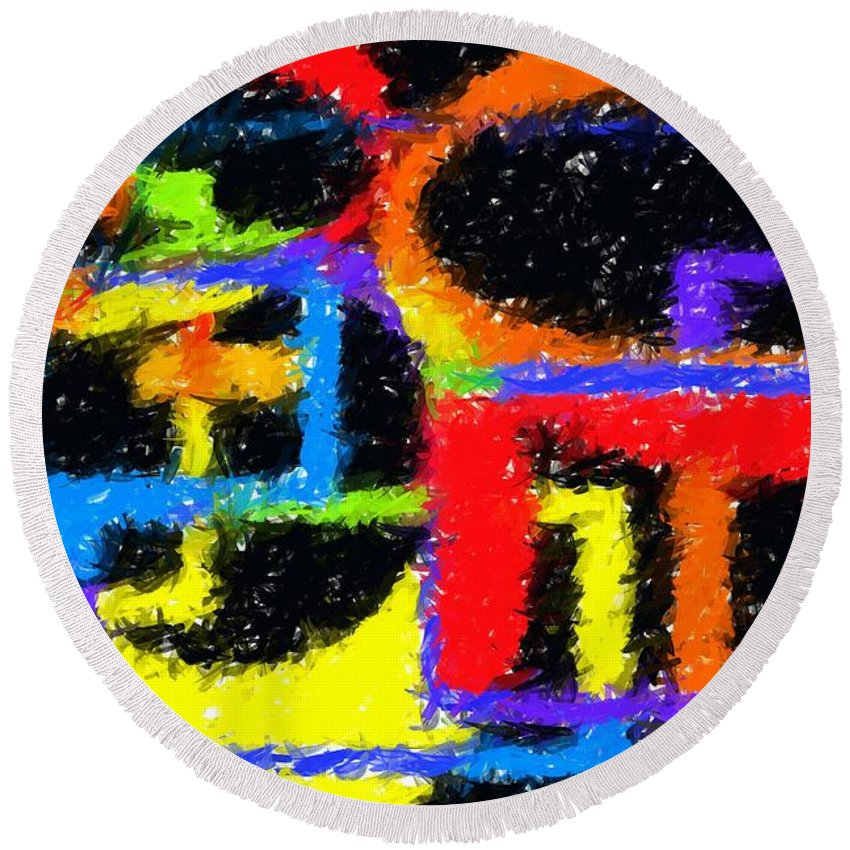 Abstract Round Beach Towel featuring the digital art Shapes 3 by Chris Butler