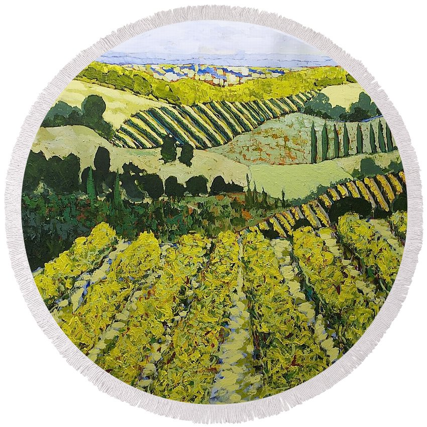 Landscape Round Beach Towel featuring the painting Sharing The Discovery by Allan P Friedlander
