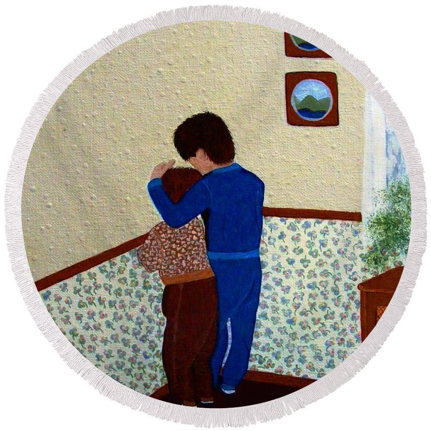 Barbara Griffin Round Beach Towel featuring the painting Sharing The Punishment by Barbara Griffin