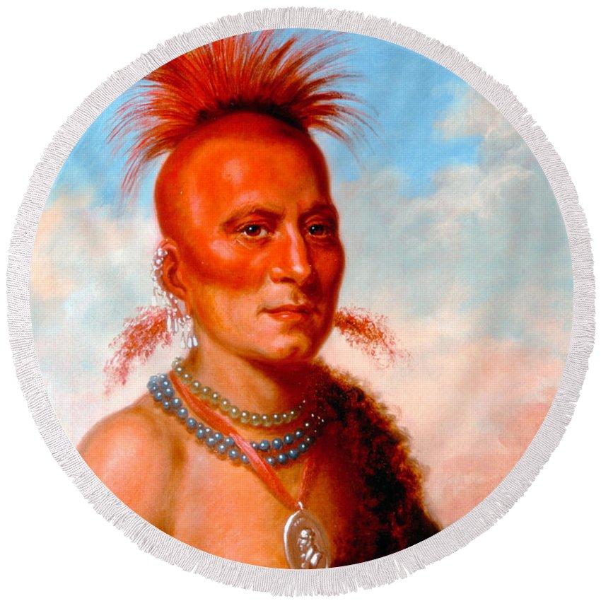 Charles Bird King Round Beach Towel featuring the painting Sharitarish. Wicked Chief. Pawnee by Charles Bird King