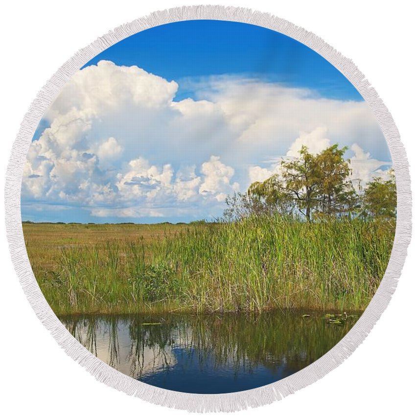Tamiami Round Beach Towel featuring the photograph Shark River Slough by Rudy Umans