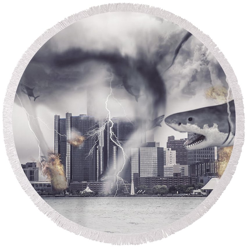 Comerica Park Round Beach Towel featuring the photograph Sharknado Detroit by Nicholas Grunas