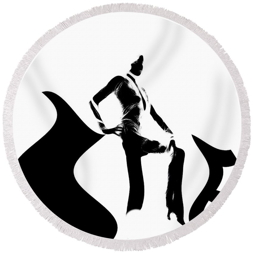Woman Round Beach Towel featuring the painting She Black by Steve K