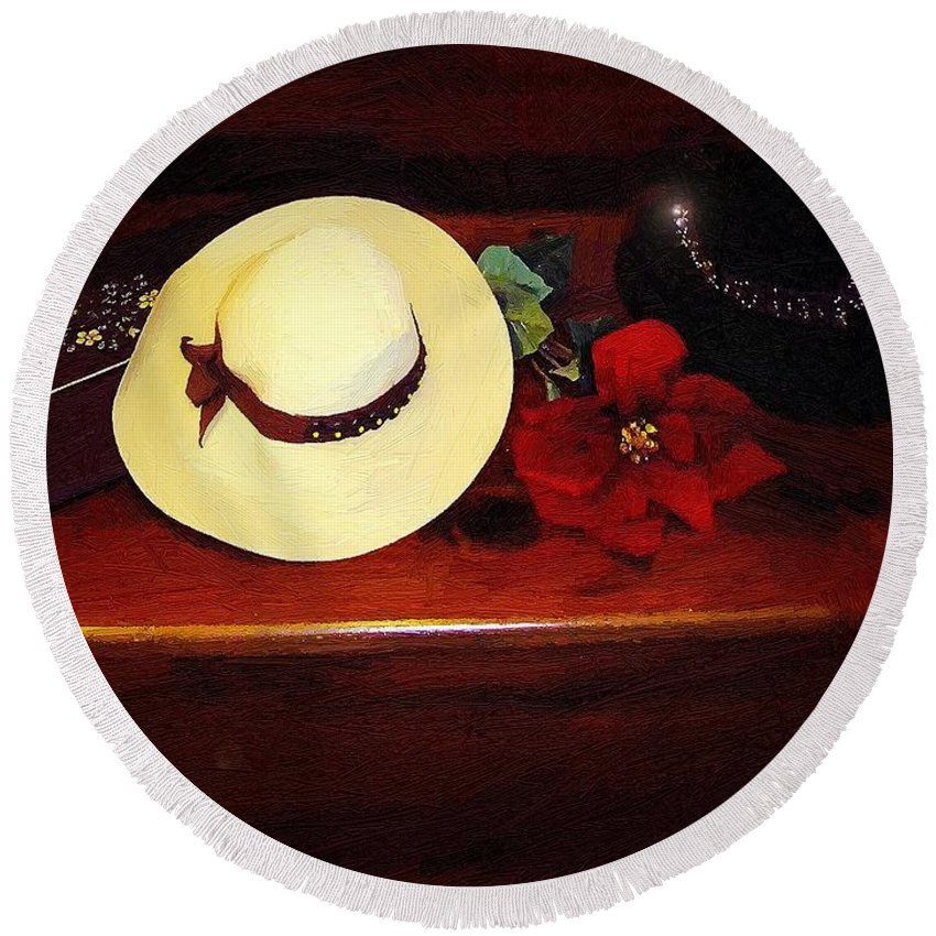 Hats Round Beach Towel featuring the painting She Loved Hats by RC DeWinter