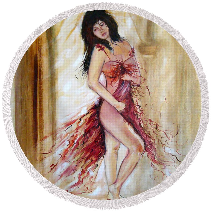 Contemporary Art Round Beach Towel featuring the painting She by Silvana Abel