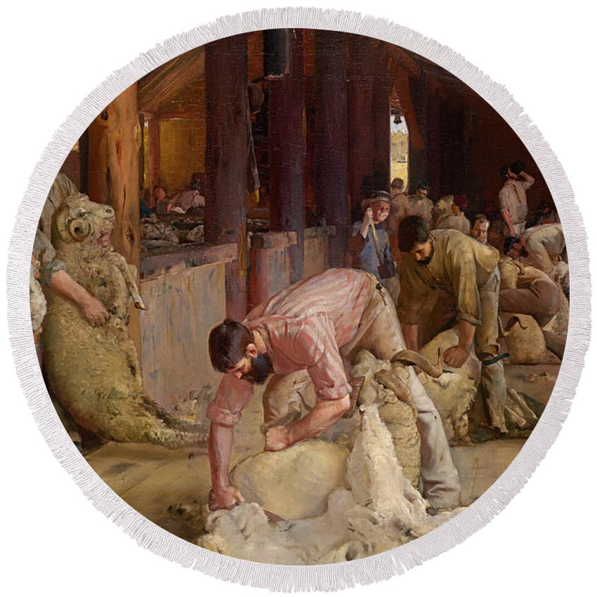 Tom Roberts Round Beach Towel featuring the painting Shearing The Rams by Tom Roberts