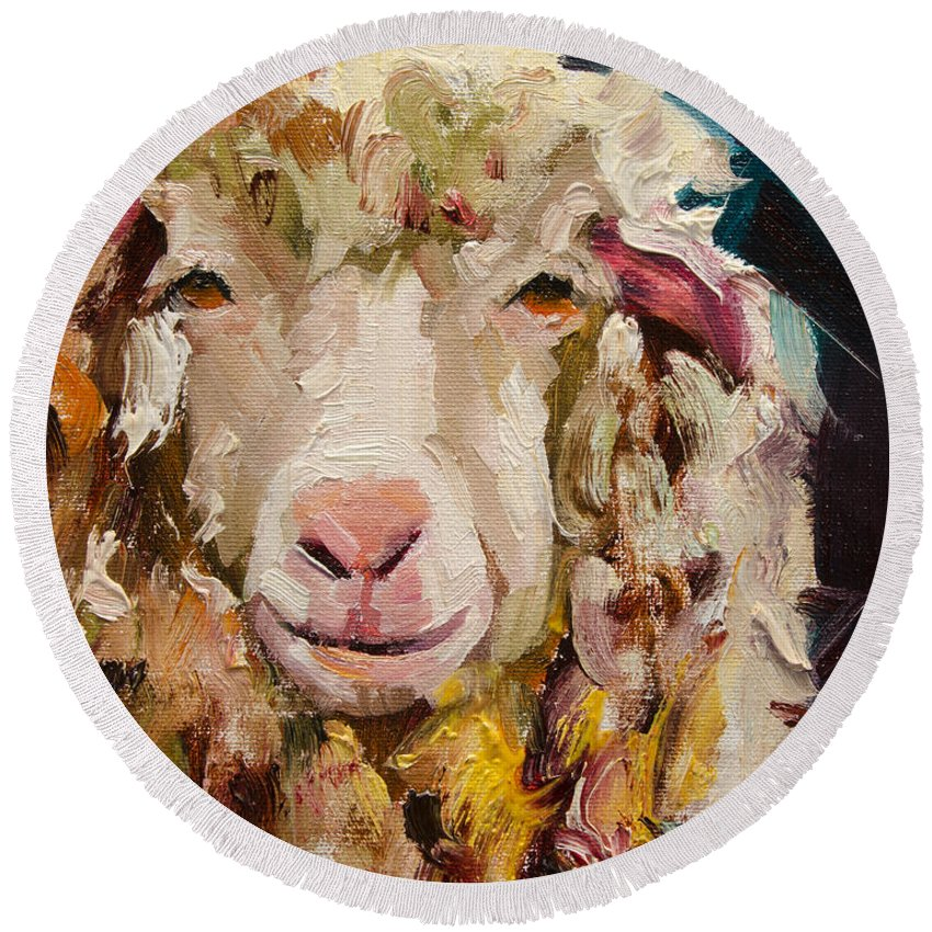 Sheep Round Beach Towel featuring the painting Sheep Alert by Diane Whitehead