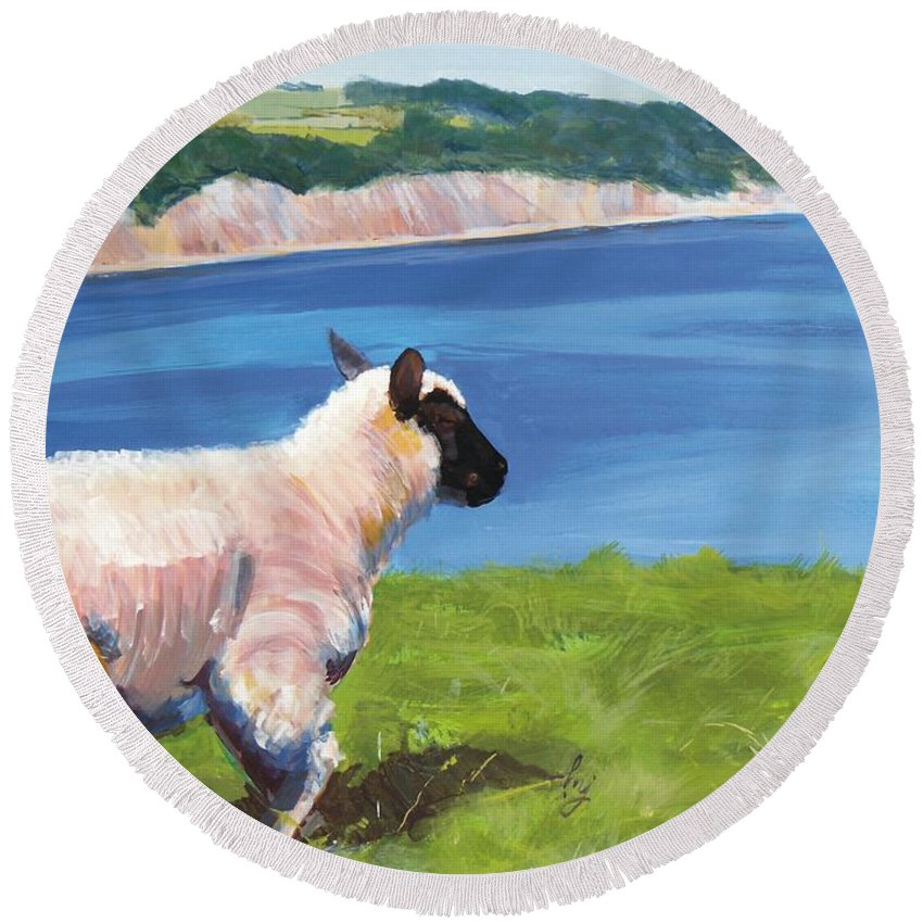 Sheep Lamb Wool Ewe Ram Grass Green White Black Blue Green Sea Ocean Coast South Devon Cliff Red White Sand Sandy Beach Beaches Sail Sailing Boat Dinghy Trees Forest Wood cliff Top Field Pastures Fields Hedges Tree Mike Jory Beer Salcombe Branscombe Air Round Beach Towel featuring the painting Sheep by Mike Jory